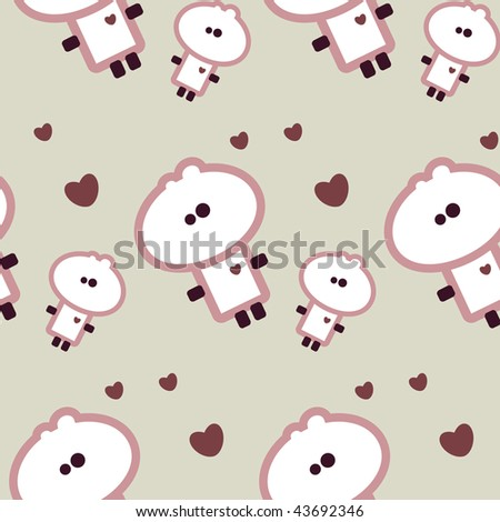 Simple valentine seamless tile with tiny dude - stock vector