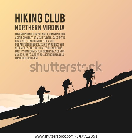 Simple vector background on the theme of Climbing, Trekking, Hiking, Mountaineering. Extreme sports, outdoor recreation, adventure in the mountains, vacation. Achievement. The Alps.   - stock vector