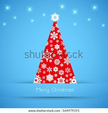 Simple vector blue christmas card - stock vector