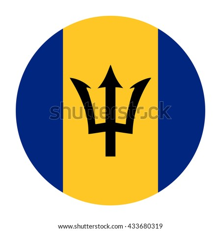 Simple vector button flag - Barbados