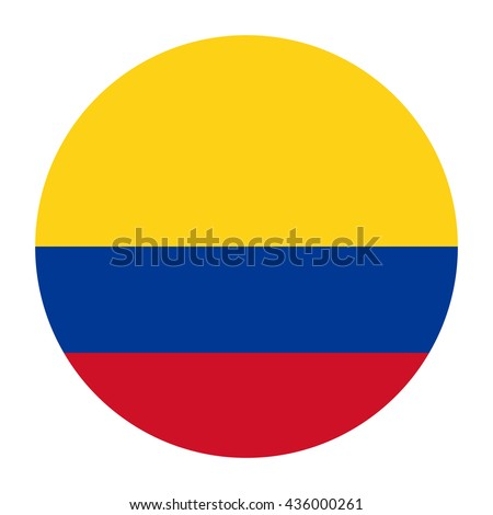 Simple vector button flag - Colombia