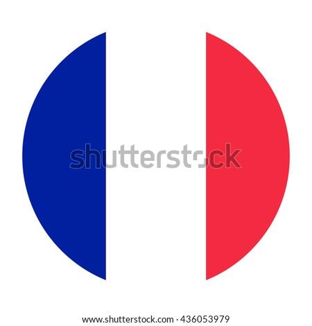 Simple vector button flag - France - stock vector