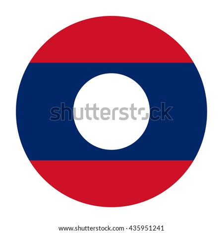 Simple vector button flag - Laos