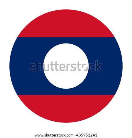 Simple vector button flag - Laos - stock vector