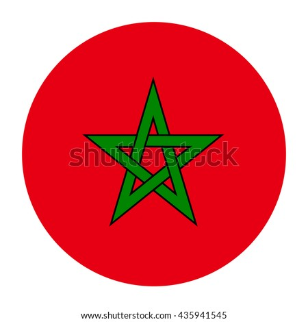 Simple vector button flag - Morocco