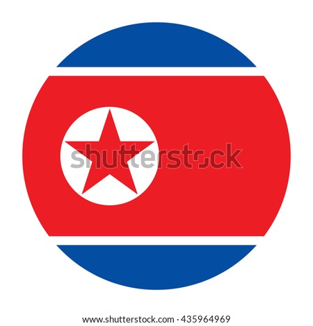 Simple vector button flag - North Korea