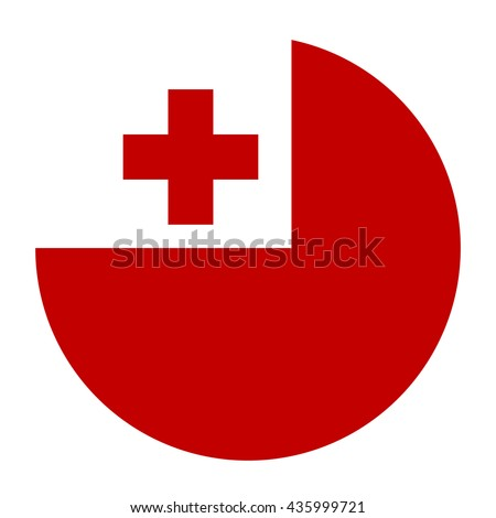 Simple vector button flag - Tonga