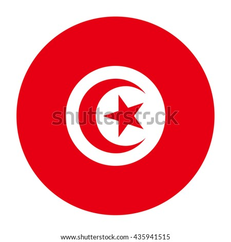 Simple vector button flag - Tunisia