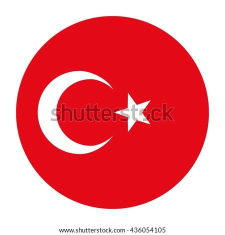 Simple vector button flag - Turkey - stock vector