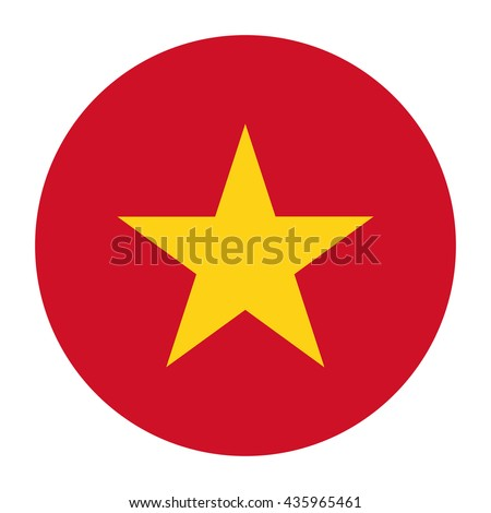 Simple vector button flag - Vietnam