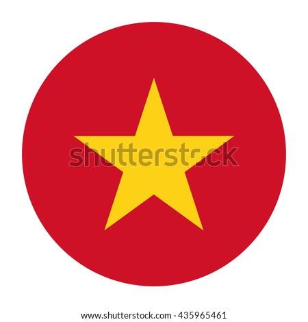 Simple vector button flag - Vietnam - stock vector