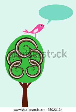 Simple vector card with cute tree, singing bird and text bubble - stock vector