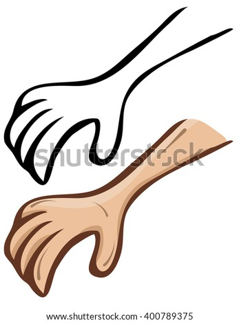 Simple vector cartoon hand. A set of contour and painted