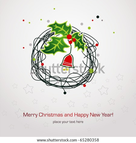 Simple vector Christmas card - stock vector