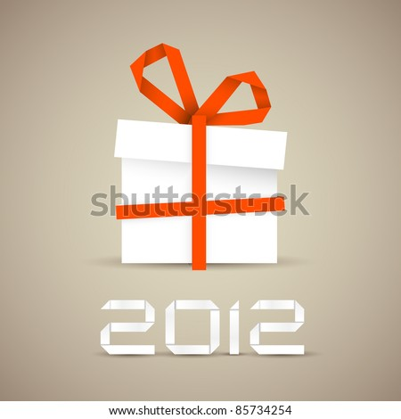 Simple vector christmas gift made from paper stripe - original new year card - stock vector