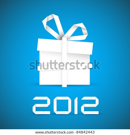 Simple vector christmas gift made from white paper stripe - original new year card - stock vector