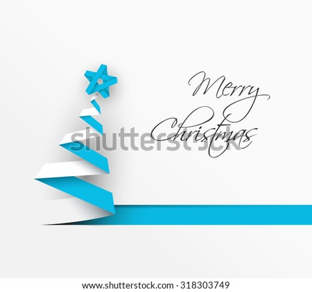 Simple vector christmas tree made from blue paper stripe - original new year card - stock vector