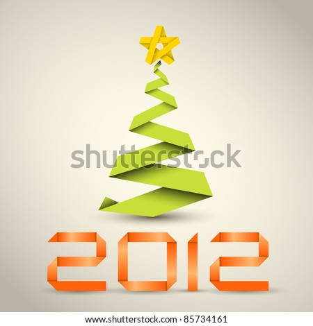 Simple vector christmas tree made from green paper stripe - original new year card - stock vector