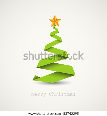 Simple vector christmas tree made from paper stripe - original new year card - stock vector