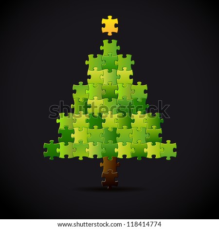 Simple Vector Christmas Tree Made From Puzzle