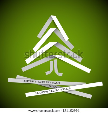 Simple vector christmas tree made from white paper stripes - original new year card - stock vector