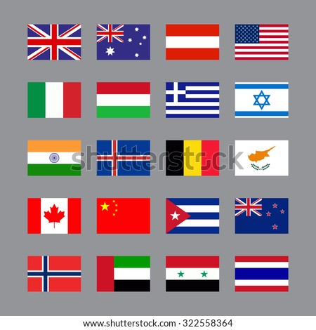 Simple Vector Flags Different Countries Flag Stock Vector