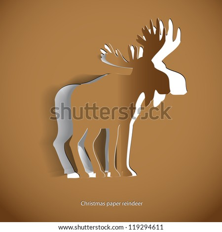 Simple vector Gold reindeer- original new year card - stock vector