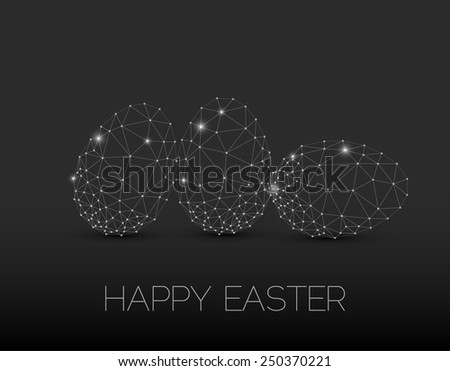 Simple vector Happy Easter card with polygonal egg - dark version