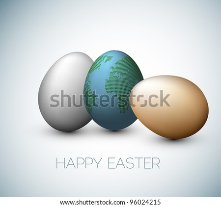 Simple vector Happy Easter card with three eggs on the gray background - stock vector