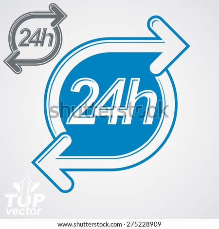 Simple vector 24 hours timer, around-the-clock flat pictogram. Twenty-four hours a day interface icon. Business time management illustration. - stock vector
