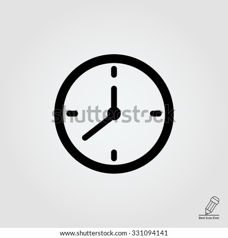 Simple vector icon of wall clock silhouette - stock vector
