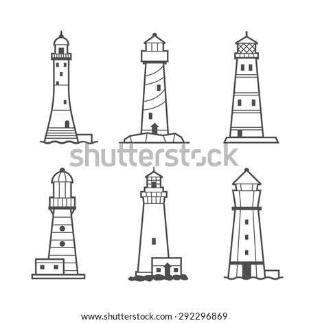 Simple vector icon or logo set of black and white lighthouses. Searchlight towers for maritime navigational guidance - stock vector