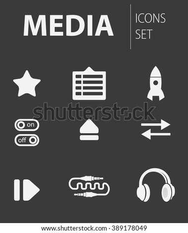 Simple vector illustration in the form of thematic icons for websites and applications: media icons - stock vector