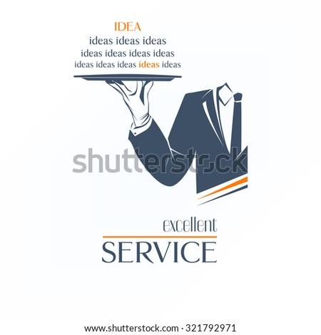 Simple vector illustration logo, isolated. Waiter is holding a tray over white background. Excellent service idea sign. Classic banner or label for any business.  - stock vector