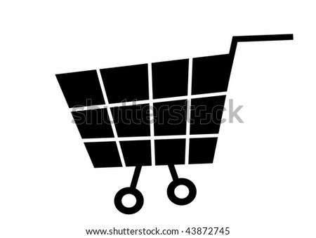 simple vector illustration of black cart on white background - stock vector