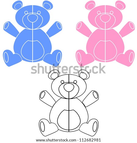 Simple vector illustration of blue, pink and black and white teddy bears for design or decals - stock vector