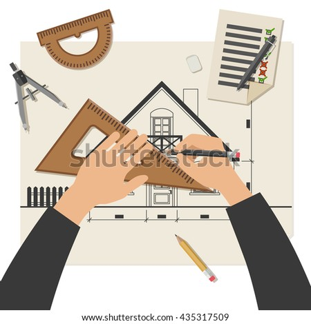 Simple vector illustration of blueprints with professional drawing equipment. Architect at work. - stock vector