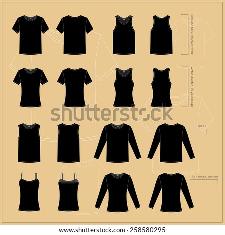 Simple vector illustration. Set of men's and women's clothes. Different black T-shirts in front and back views. - stock vector