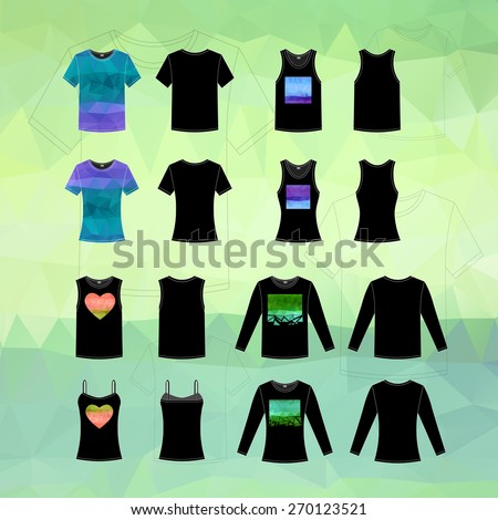 Simple vector illustration. Set of men's and women's clothes. Different black T-shirts in front and back views with triangles. - stock vector