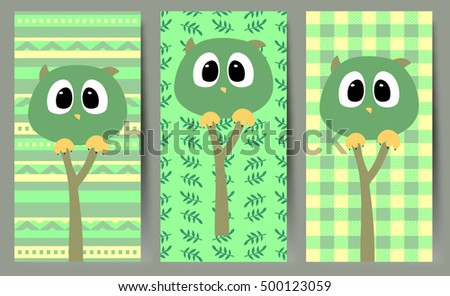 Simple vector illustration with funny owls.