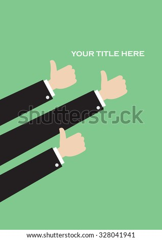 Simple vector layout design in green with three arms in thumbs up gestures with copy space. - stock vector