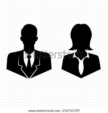 simple vector male female avatar icons - stock vector