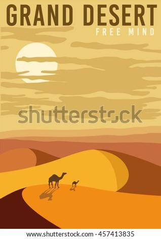 simple vector nature poster. sand, desert, camel, illustration. - stock vector