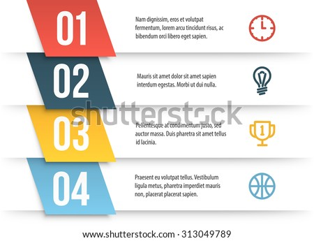 Simple vector numbered list template on white background. Decorated elementary infographics layout with sample text and icons. - stock vector