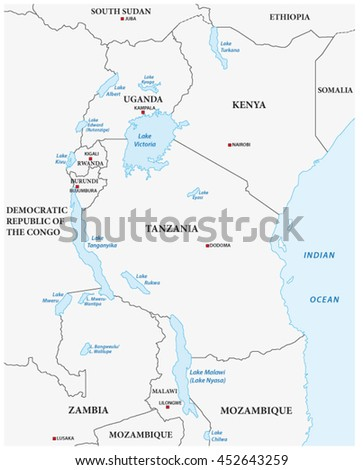 simple vector outline map of the African Great Lakes