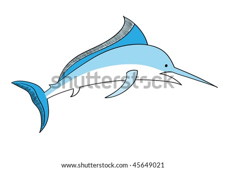 Simple vector swordfish isolated on the white - stock vector