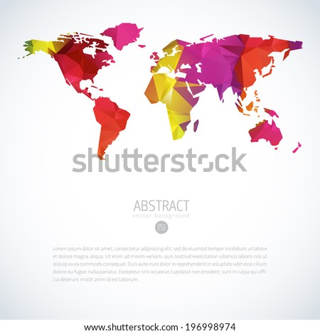 Simple vector template continental world map stock vector simple vector template of continental world map with modern triangle pattern world map blank world gumiabroncs Images