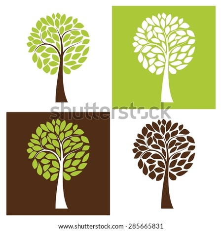 Simple vector tree set, four color variants - stock vector