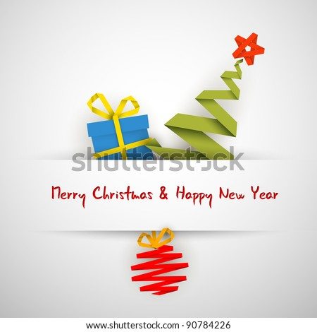 Simple vector white christmas card with gift, tree and bauble made from paper stripe - stock vector