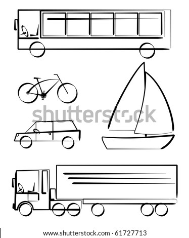 Simple vetcor drawings of transportation vehicles